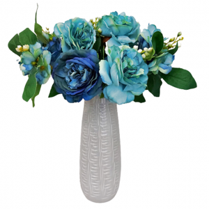 Buchet trandafiri artificiali bleu-turcoaz Amelie