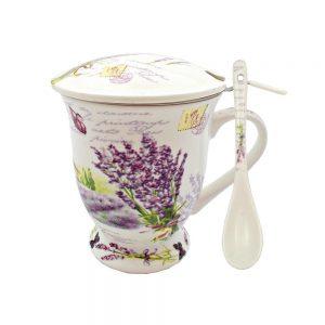 Cana de ceai cana portelan lavanda Silvie cadou sarbatori aniversare