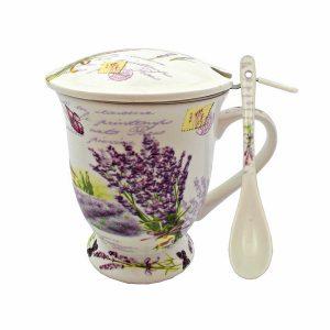 Cana lavanda cana ceai cu infuzor si lingurita portelan Provence