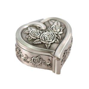Cutie bijuterii vintage Precious caseta inima metal argintiu inel logodna