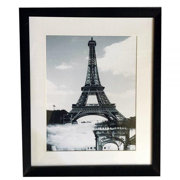 Poster alb negru Paris By Night decor perete cafenea bistro 27x32cm