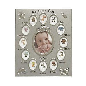 Rama foto Primul An argintiu cadou botez elegant fotografii bebelus