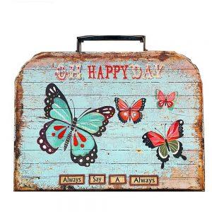 Valiza vintage cu maner Happy cutie depozitare cutie de cadou