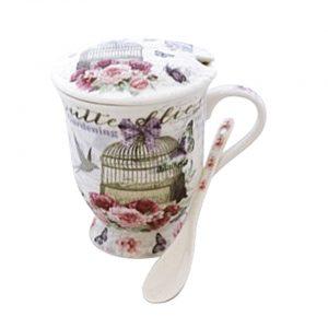 Cana de ceai cu infuzor Bird Cage, fluturi si flori, portelan