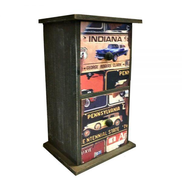 Cutie 2 sertare Travel lemn vintage