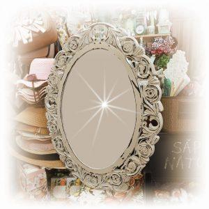Oglinda ovala Agatha 42x53cm, Bej, Vintage