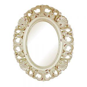 Oglinda ovala Agatha 42x53cm bej-antichizat