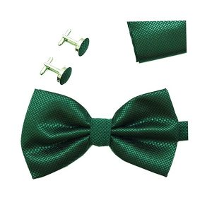 Papion verde elegant Mistery cu butoni si batista matase texturata