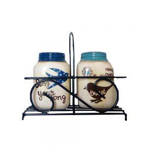 Solnita Birds ceramica vintage suport metalic