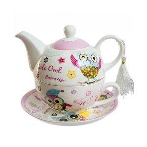 Ceainic bufnite roz ceainic ceasca si farfurie portelan Matilde