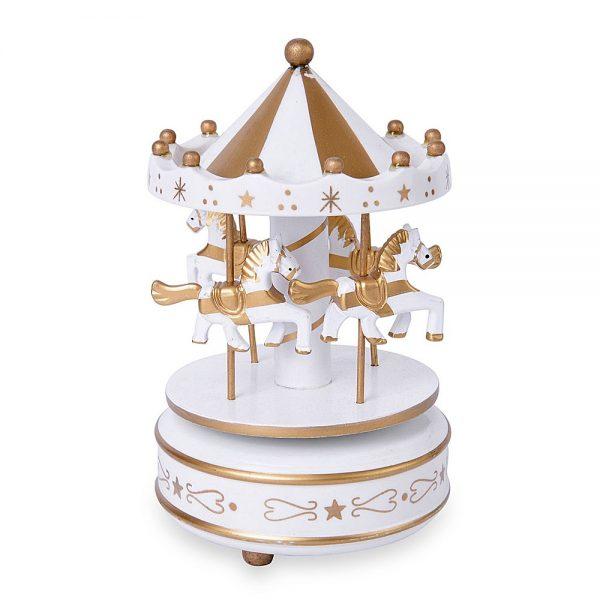 Carusel muzical alb auriu rotativ Carousel cutie muzicala cadou Craciun