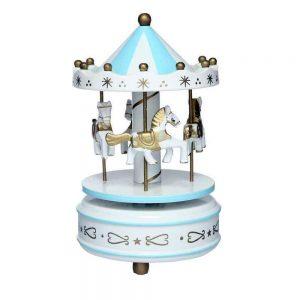 Carusel muzical alb bleu rotativ Carousel cutie muzicala cadou botez