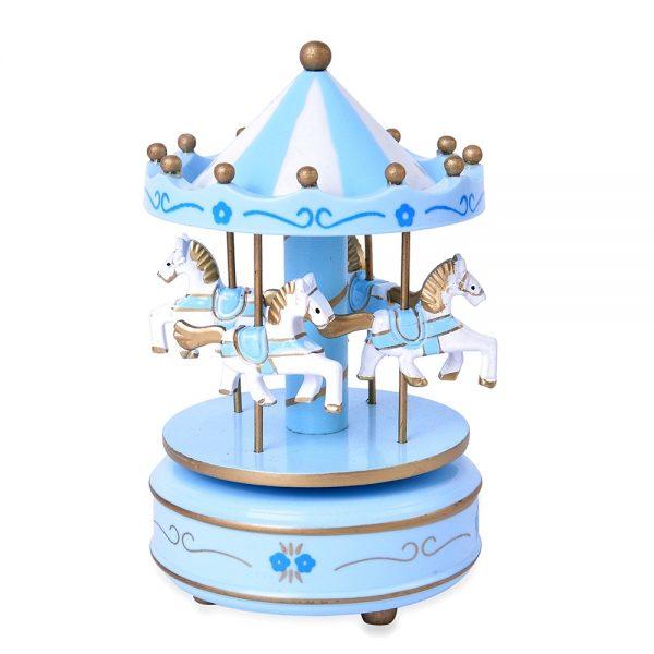Carusel muzical bleu / alb rotativ Carousel