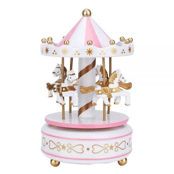 Carusel muzical roz alb rotativ Carousel cutie muzicala cadou botez