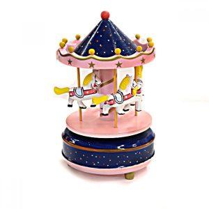 Carusel muzical cu caluti lemn cutie muzicala roz bleumarin Carousel