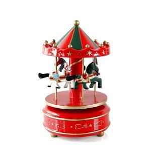 Carusel muzical cu caluti lemn cutie muzicala rosu verde Carousel