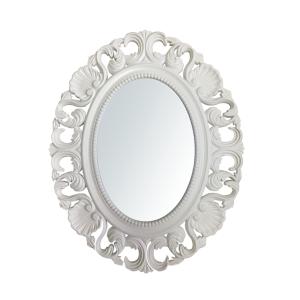 Oglinda alba ovala oglinda mireasa Elegance 42x52cm rama lemn
