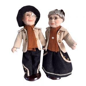 Papusi portelan cuplu Bunicul Richard si Bunica Julia papusa colectie