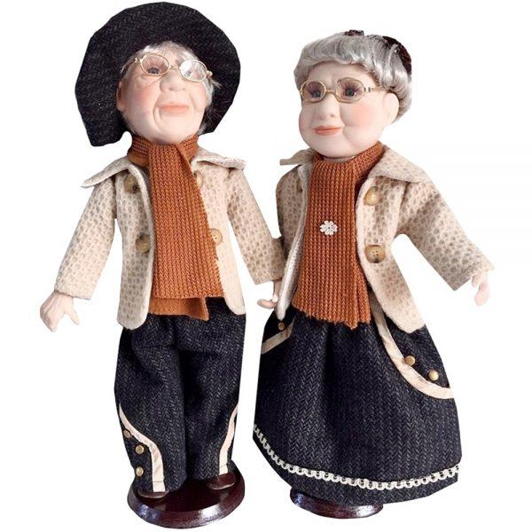 Papusi portelan cuplu Julia & Richard 40cm, Papusa de Colectie