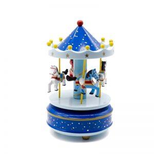 Carusel muzical rotativ cu caluti cutie muzicala albastru bleu Carousel