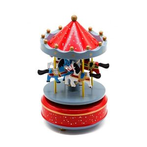 Carusel muzical cu caluti lemn cutie muzicala rosu bleu Carousel
