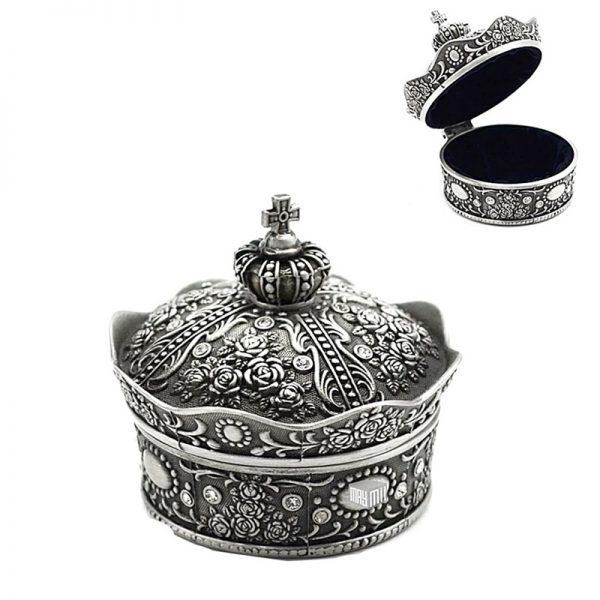 Cutie bijuterii vintage caseta metal argintiu Queen cutie inel logodna