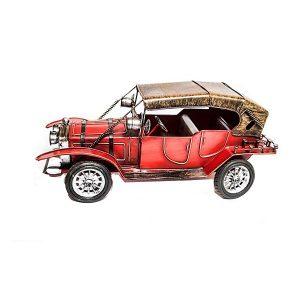 Macheta metal masina de epoca vintage rosie 30x13x14cm Oldies