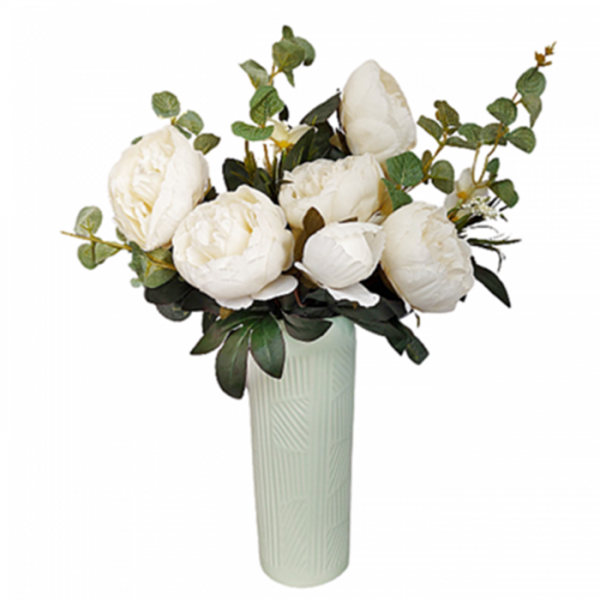 Buchet bujori artificiali albi Berenice 45cm