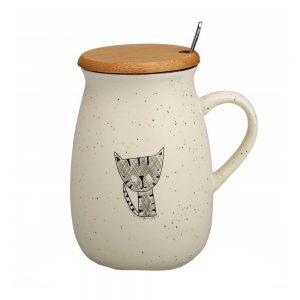 Cana pisica Abby cana cafea ceai capac bambus si lingurita