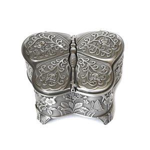 Cutie bijuterii vintage caseta metal argintiu fluture cu flori Butterfly