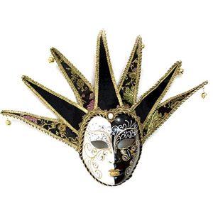Masca venetiana-decoratiune perete Signora negru-auriu-alb