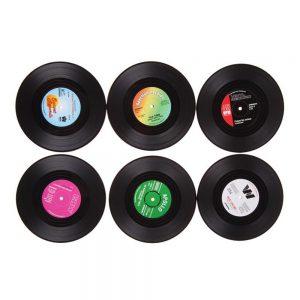 Set 6 suporturi pahare Old Vinyl plastic coastere minidiscuri vinil
