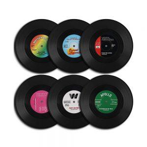 Set 6 suporturi pahare Old Vinyl plastic