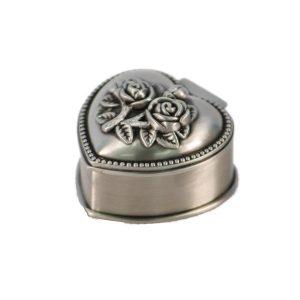 Cutie bijuterii vintage caseta metal argintiu inima cu trandafir Heart
