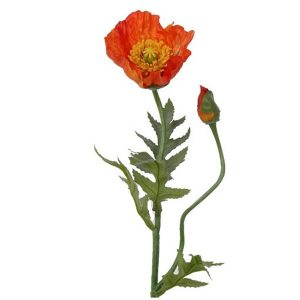 Fir maci portocalii artificiali Orange Poppy flori decorative elegante