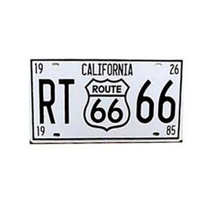 Numar auto decorativ alb Route 66 placa metalica vintage