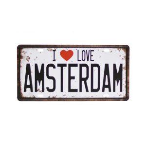 Numar auto decorativ placa metalica vintage Love Amsterdam 30x15cm