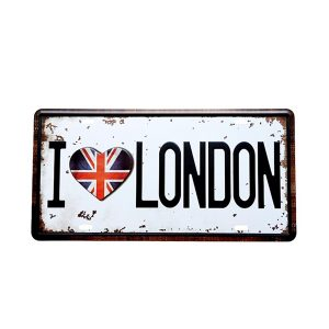 Numar auto decorativ placa metalica vintage Love London 30x15cm