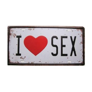 Numar auto decorativ placa metalica vintage Love Sex 30x15cm