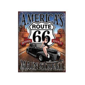 Placa metalica America Route 66 poster multicolor vintage 20x30cm