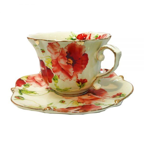 Serviciu cafea vintage maci Poppy set 2 cesti farfurioare portelan