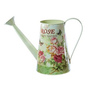 Stropitoare tabla vintage Rosie cu trandafiri vas decorativ 12x30cm