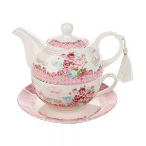 Set ceai pentru 1 persoana Marjorie trandafiri