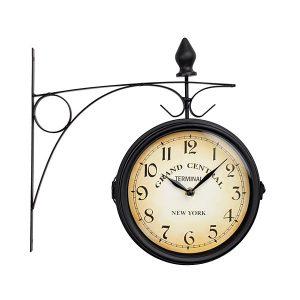 Ceas gara vintage negru 2 cadrane cifre arabe Grand Central