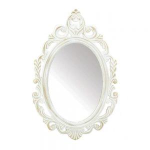 Oglinda ovala Victoria 39x59cm, Alb antichizat