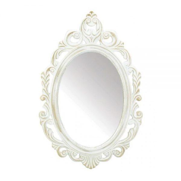 Oglinda ovala Victoria 39x59cm alb antichizat