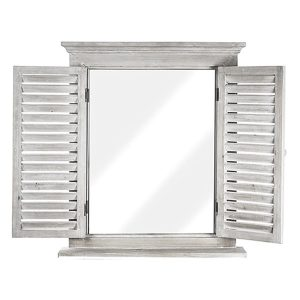 Oglinda alb antichizat fereastra cu obloane Antique French vintage