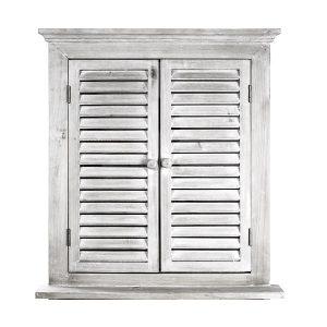 Oglinda perete Antique French vintage fereastra cu obloane alb antichizat