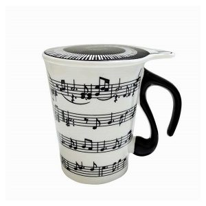 Cana note muzicale pe portativ cana cafea ceramica alb-negru Music