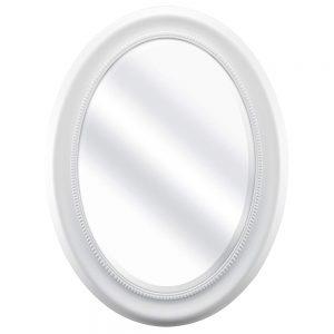 Oglinda mireasa Amber alba ovala retro rama MDF 36x53cm